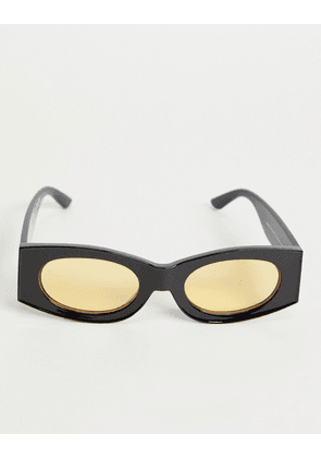 ASOS DESIGN square sunglasses in black with yellow oval lens
