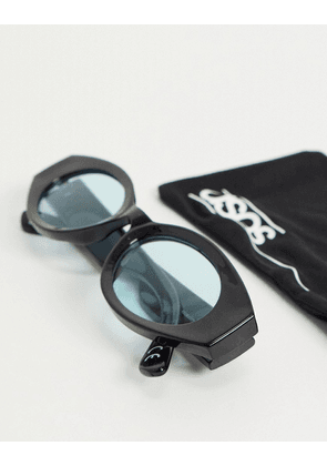 ASOS DESIGN mid oval sunglasses in black with turquoise lens
