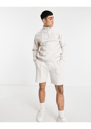 ASOS DESIGN smart co-ord slim shorts with textured check panels-Neutral
