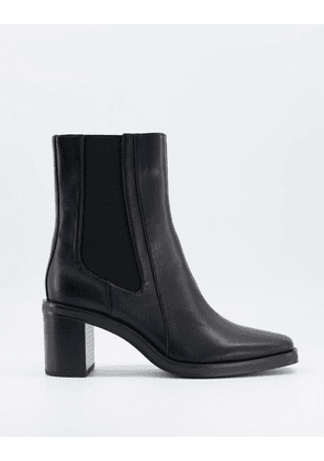 Bershka square toe boot with chunky heel in black