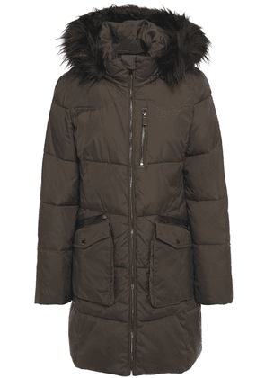 Dkny Faux Fur-trimmed Quilted Shell Hooded Coat Woman Army green Size L