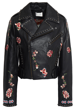 Camilla Cropped Studded Embroidered Leather Biker Jacket Woman Black Size S