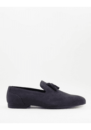 ASOS DESIGN loafers in navy faux suede