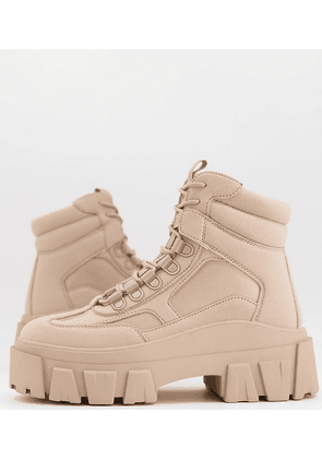ASOS DESIGN Wide Fit lace up boot in beige faux nubuck with chunky sole