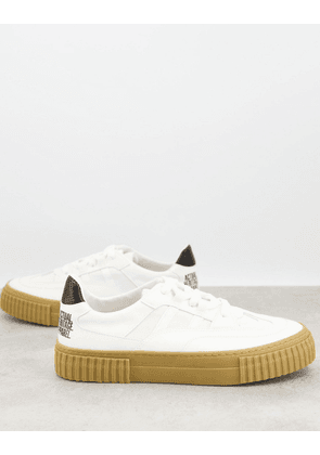ASOS DESIGN lace up trainers in white made from responsible materials
