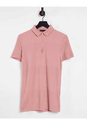 ASOS DESIGN muscle fit fancy rib polo in washed pink