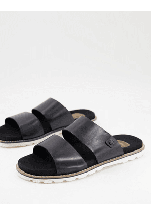 Base London mojave double strap sandals in black leather