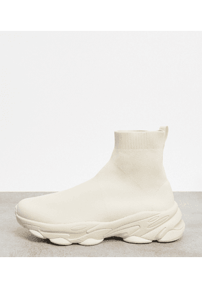 ASOS DESIGN Wide Fit knitted sock trainers in stone-Neutral