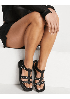 New Look studded strap flat sandals in black