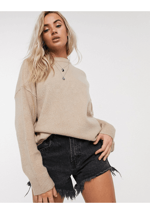 Bershka oversized jumper in camel-Brown