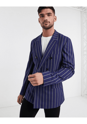 ASOS DESIGN slim soft tailored double breasted blazer in navy stripe