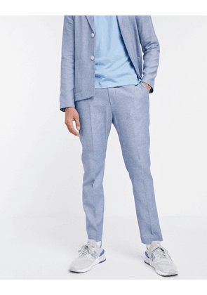 ASOS DESIGN skinny casual linen mix suit trouser in navy and white