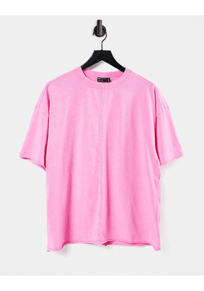 ASOS DESIGN oversized t-shirt with seam detail in washed pink