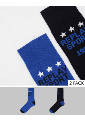 Replay casual 2 pack socks in black and blue-Multi