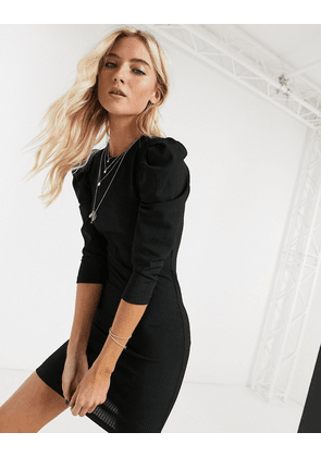 Bershka puff sleeve mini dress in black