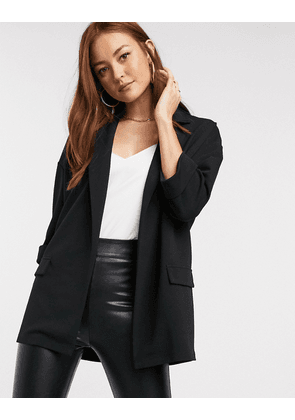 ASOS DESIGN easy relaxed blazer in textured jersey-Black