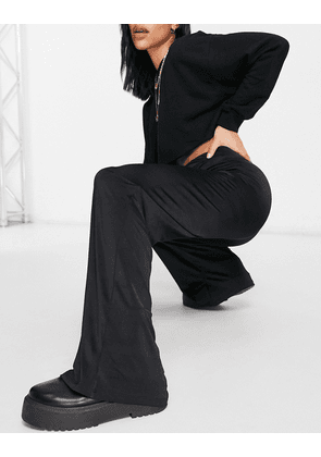 ASOS DESIGN Hourglass slinky suit wide leg trouser co ord in black