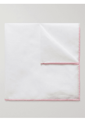 ANDERSON & SHEPPARD - Contrast-Tipped Cotton and Linen-Blend Pocket Square - Men - White - one size