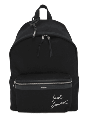 Logo Embroidery Cotton Canvas Backpack