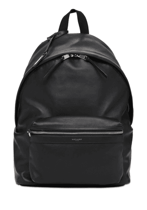 Logo Leather City Backpack