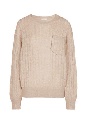 Cable-knit mohair and wool-blend sweater