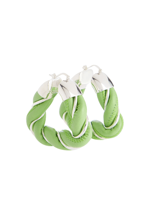 Leather and silver-plated triangle hoop earrings