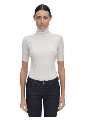 Sheer Ribbed Wool Blend Sweater