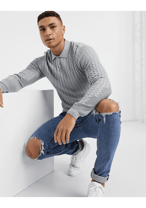 ASOS DESIGN muscle fit cable polo neck jumper in grey