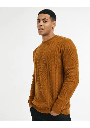 ASOS DESIGN lambswool cable knit crew neck jumper in tobacco-Brown