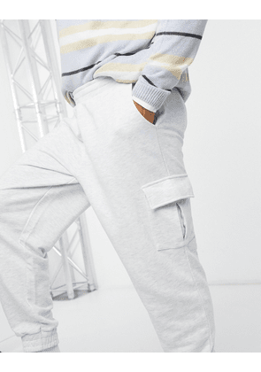 ASOS DESIGN oversized joggers with cargo pockets in white marl