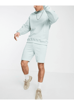 ASOS DESIGN tracksuit oversized sweashirt & tapered jersey shorts with pintucks in grey