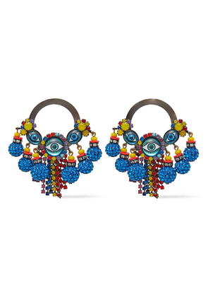 Elizabeth Cole Hematite-plated, Crystal, Bead And Glass Earrings Woman Multicolor Size --
