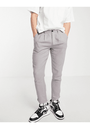 ASOS DESIGN cigarette trousers with pleats in grey linen