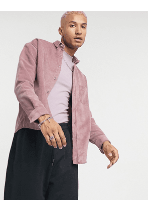 ASOS DESIGN oversized 90s style cord shirt in pink