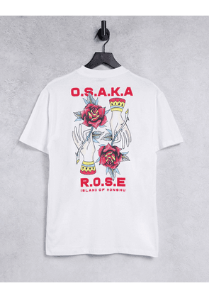 ASOS DESIGN relaxed t-shirt in white with rose back print