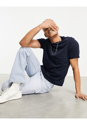 ASOS DESIGN t-shirt with crew neck and roll sleeve in navy