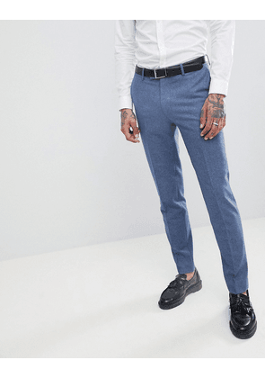 Harry Brown Wedding Wool Blend Blue Donegal Slim Fit Trousers