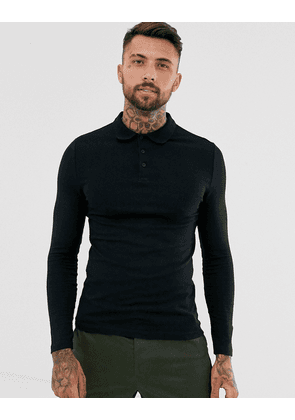ASOS DESIGN organic muscle fit long sleeve jersey polo in black