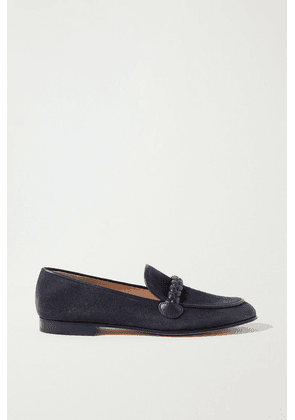 Gianvito Rossi - Belem 15 Leather-trimmed Suede Loafers - Navy