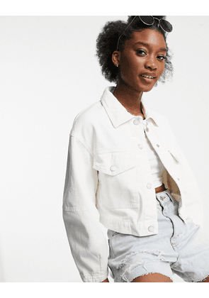 Bershka organic cotton jacket with large pockets in white