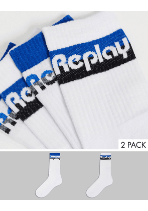 Replay short tennis 2 pack socks in white