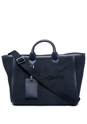 Dolce & Gabbana logo-embroidered woven tote bag - Blue
