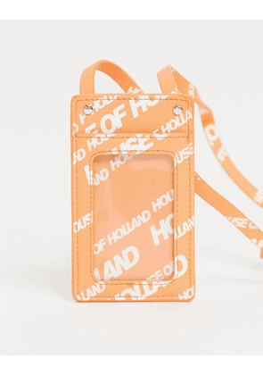 House of Holland logo lanyard card holder in orange