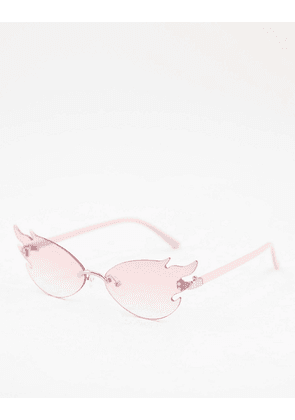 ASOS DESIGN rimless flame fashion glasses in pink lens