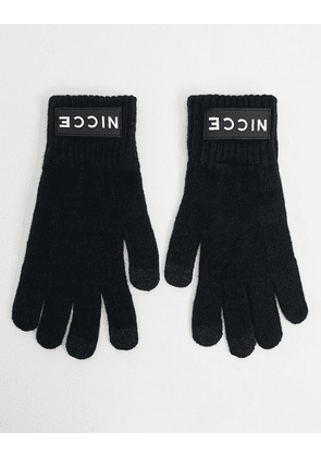 Nicce knitted touchscreen gloves in black