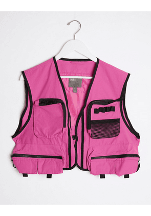 ASOS DESIGN co-ord cropped gilet in pink