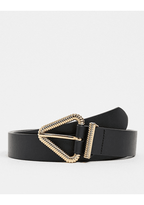 ASOS DESIGN skinny belt in black faux leather with triangle detail buckle in gold