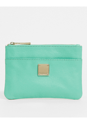Paul Costelloe leather small zip top purse in aqua green