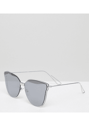 South Beach Cat Eye Flat Lens Sunglasses-Silver