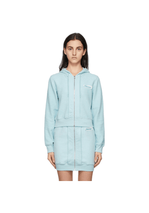 Moschino Blue Inside Out Label Zip-Up Hoodie